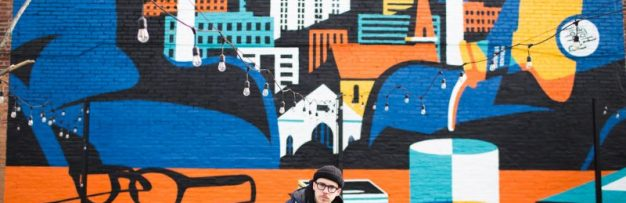 Jeremy Booth creates giant mural in Louisville for Rabbit Hole to celebrate the local creative community